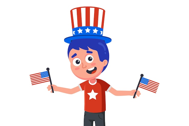 Young american in hat and with flags celebrating independence day. flat character  illustration isolated on white background. Premium Vector