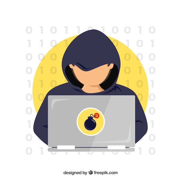 Young anonymous hacker with flat design Free Vector