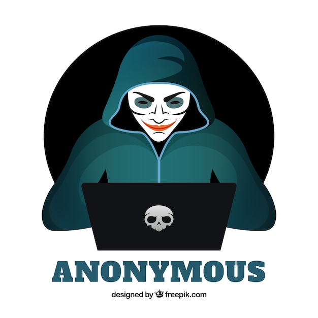 free vector young anonymous hacker with flat design young anonymous hacker with flat design