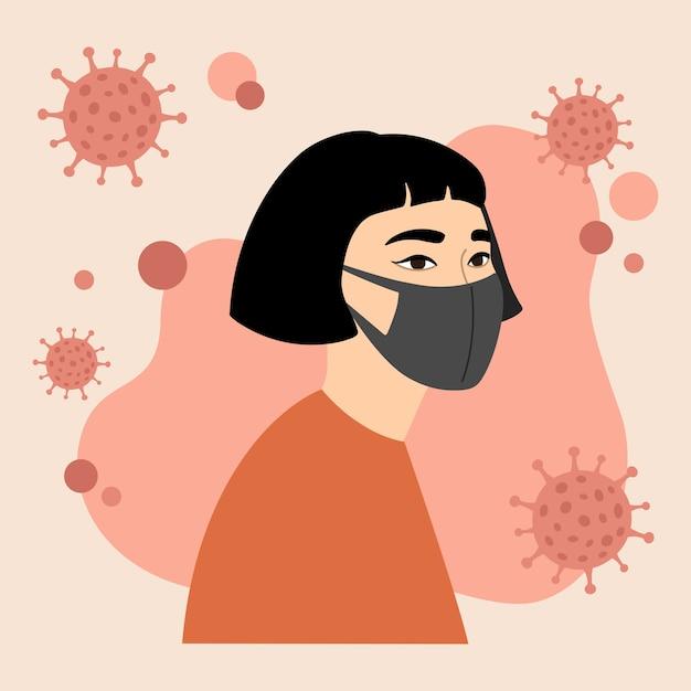 Young asian girl in black medical face mask, protection. coronavirus, covid-19, world epidemic. Premium Vector