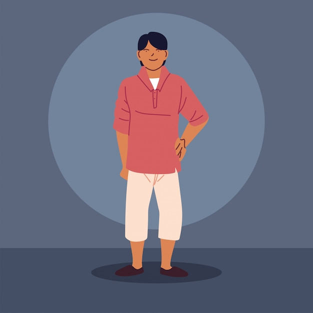 Young asian guy wearing casual clothes Premium Vector