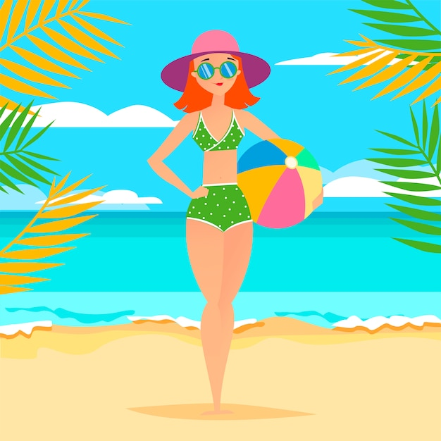 Young athletic girl with ball on the beach Premium Vector