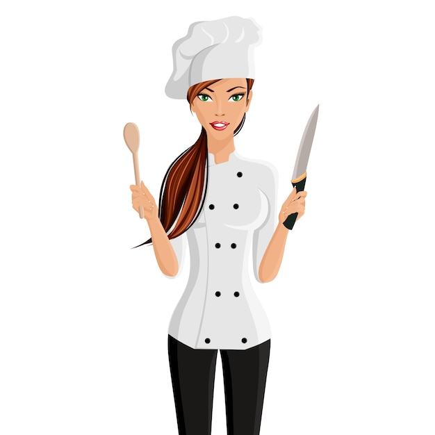 Young attractive woman in restaurant chef hat with knife and spatula  isolated on white background vector illustration Free Vector