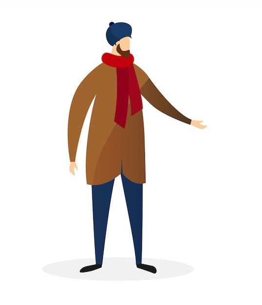 若いひげを生やした男はモダンなカジュアルな冬のコートを着る Premiumベクター