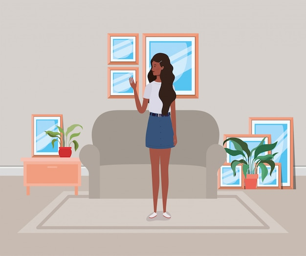 Young and beautiful afro girl character in the house Premium Vector