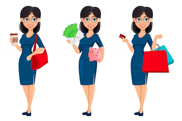 Young beautiful business woman in blue dress Premium Vector