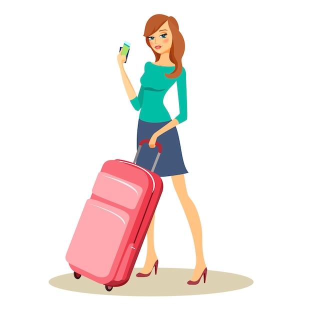 Giovane bello viaggiatore o turista con valigia trolley da viaggio su ruote con in mano una manciata di soldi e biglietti Vettore gratuito