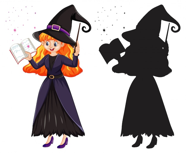 Young beautiful witch holding magic wand and book in color and silhouette cartoon character isolated on white background Free Vector