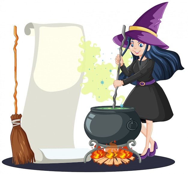 Young beautiful witch with black magic pot and broomstick and blank note paper cartoon style isolated Free Vector