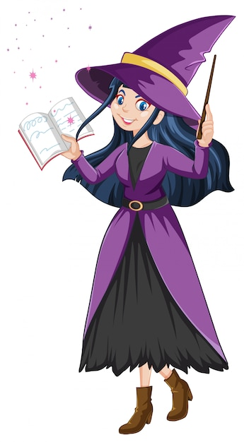 Young beautiful witch with magic wand and book cartoon style isolated on white background Free Vector