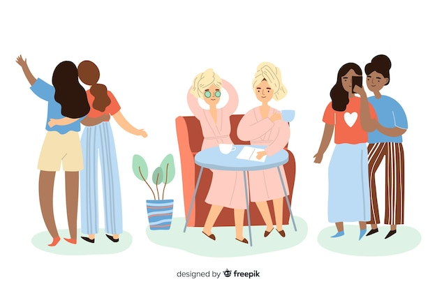 Young best friends spending time together Free Vector