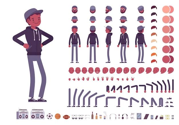 Набор для создания персонажей молодого черного человека Premium векторы