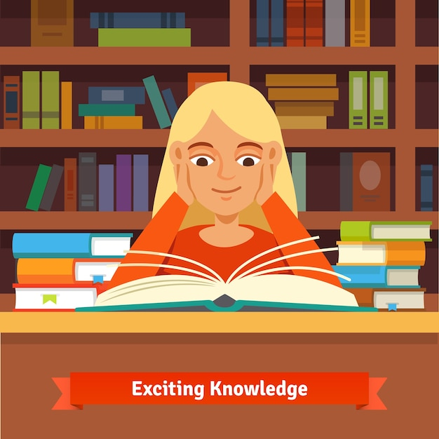 Young blonde girl reading book in a library Vector | Free ...