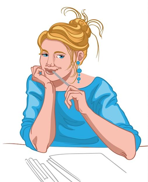 Giovane donna bionda con gli occhi azzurri e la faccia gioiosa vestita di pensiero camicetta blu Vettore gratuito