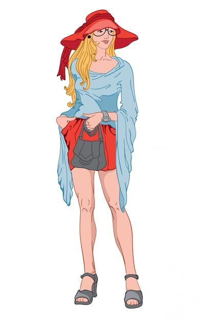Giovane donna bionda con espressione facciale seria. bing cappello rosso e abito corto, camicetta blu, scarpe grigie, orologio e borsetta Vettore gratuito