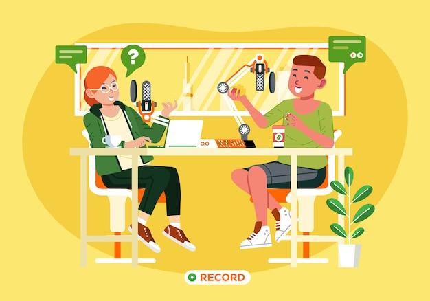 Молодой мальчик и девочка делают запись подкаста в студии с микрофоном на столе и окном позади них иллюстрации. используется для целевой страницы, плаката и других Premium векторы
