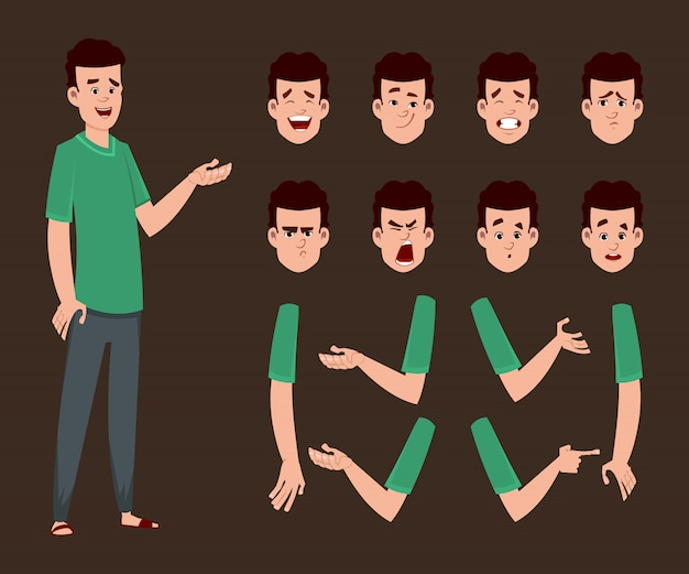 Young boy character for animation or motion with different facial emotions and hands. Premium Vector