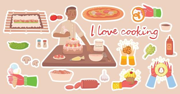 Молодой мальчик готовит на кухне дома. кулинария наклейки векторное понятие. векторные иллюстрации в современном стиле плоский дизайн Premium векторы