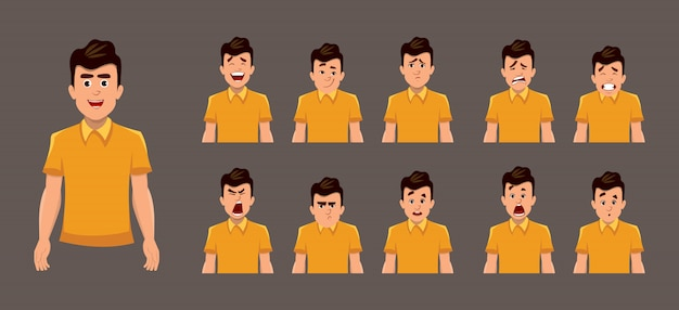 Young boy facial emotions or expression sheet Premium Vector