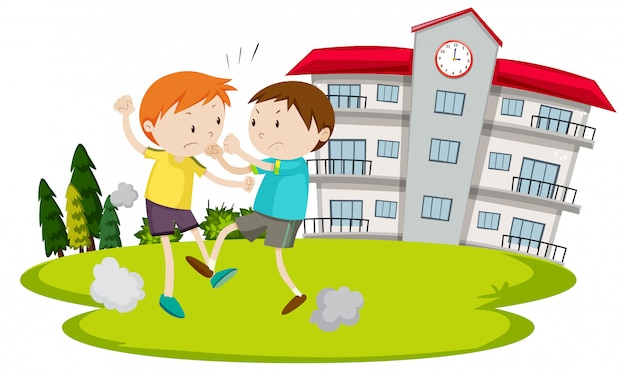 Young boy fighting in front of school Free Vector