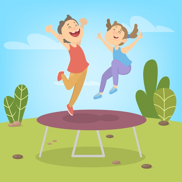 Young boy and girl jumping on trampoline. summer activity. happy kids have fun.  illustration Premium Vector