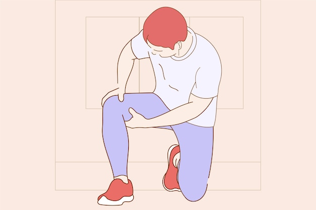 Young boy having pain on knee concept illustration Premium Vector