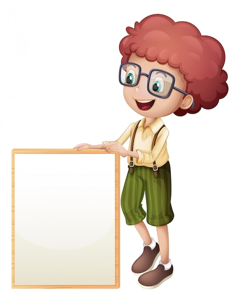 A young boy holding an empty frame Free Vector