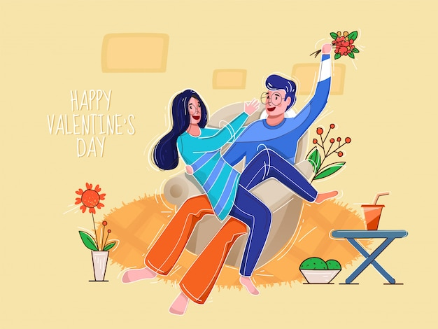 Young boy holding a flower bouquet tease his girlfriend on sofa with plant pot for happy valentine's day concept. Premium Vector