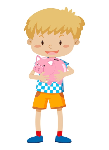 A young boy holding piggy bank Free Vector