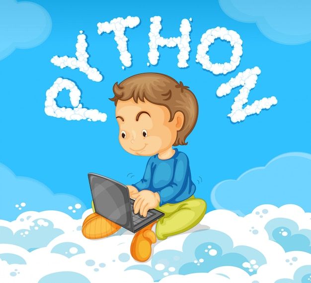 Young boy on laptop python concept Free Vector