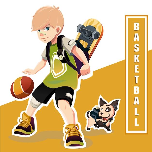 Young boy playing basketball. amazing basketball kid. basketball Premium Vector