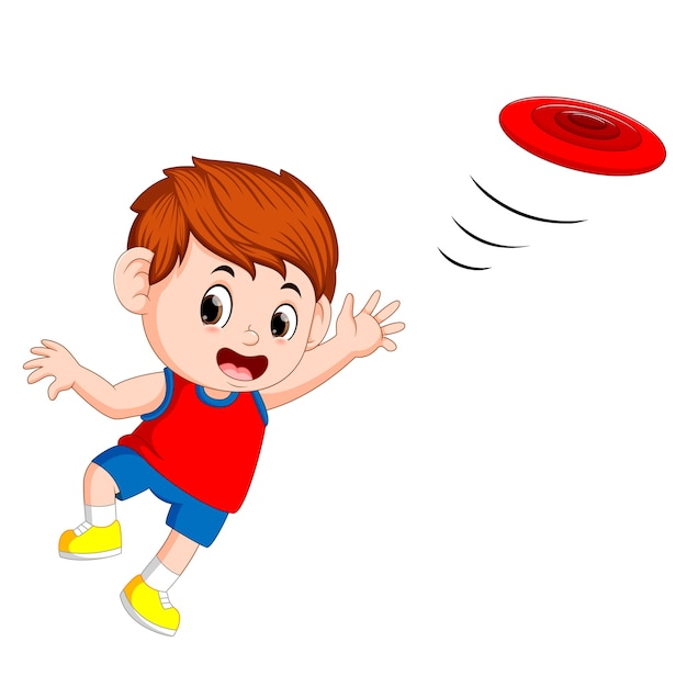 フリスビーで遊ぶ若い男の子 Premiumベクター