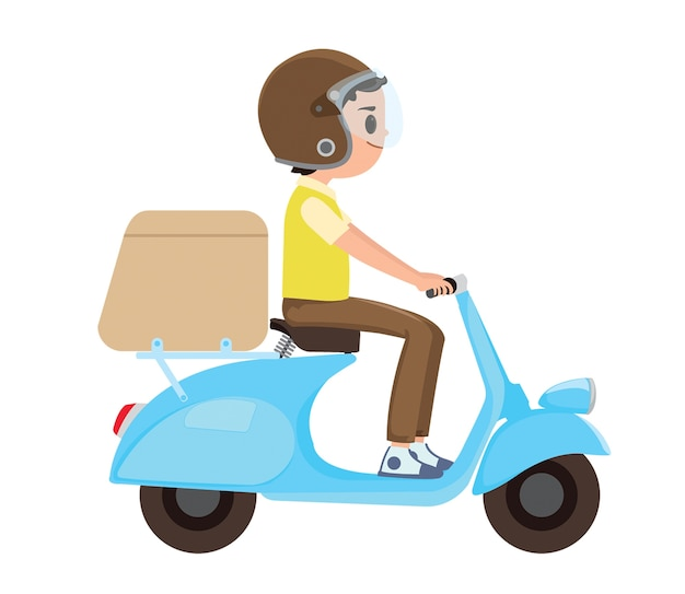 A young boy riding a delivery scooter Premium Vector