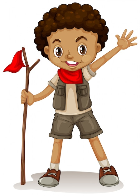 A young boy scout Free Vector