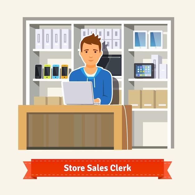 Young boy shop assistant