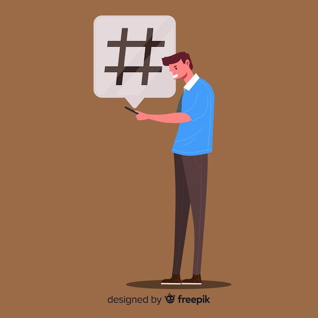 Young boy with hashtag symbol Free Vector