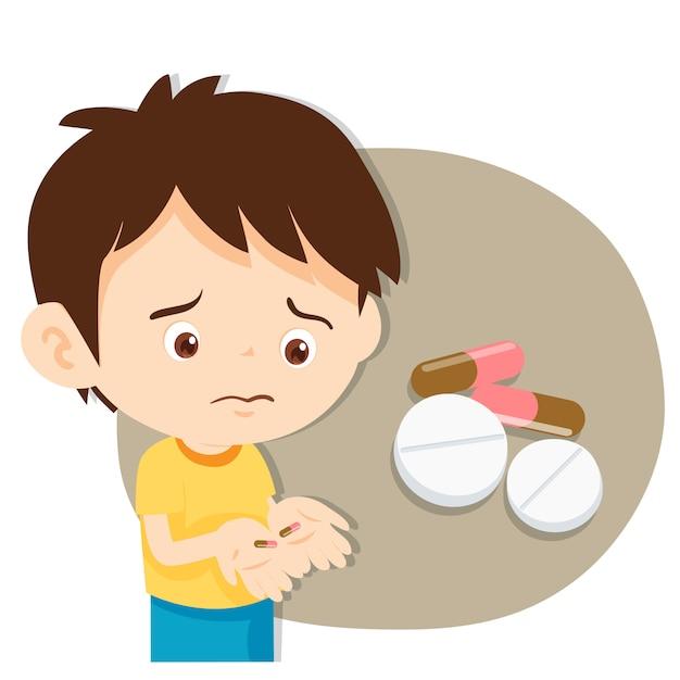 Young boy with medicines Premium Vector