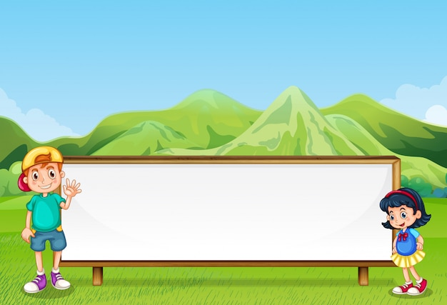 A young boy and a young girl beside the empty signboard Free Vector
