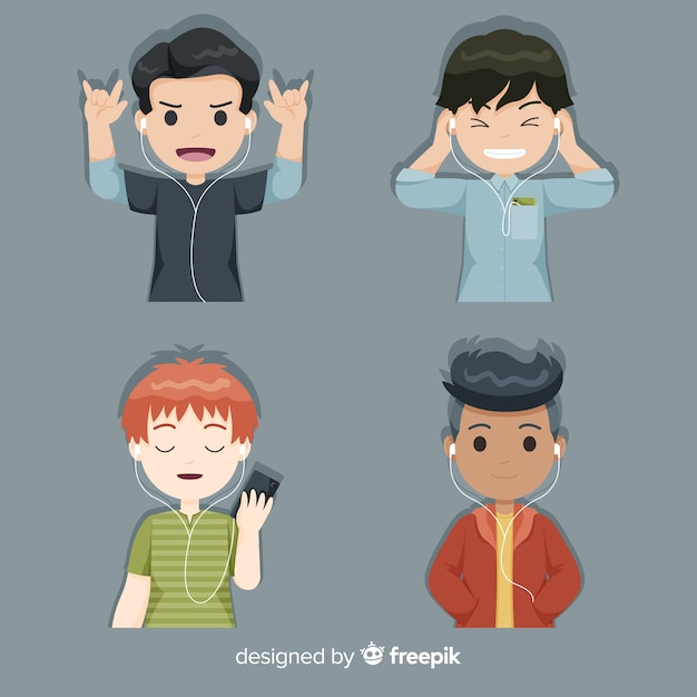 Young boys enjoying and listening to music Free Vector