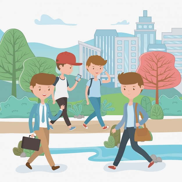 Young boys walking using smartphones in the park Free Vector