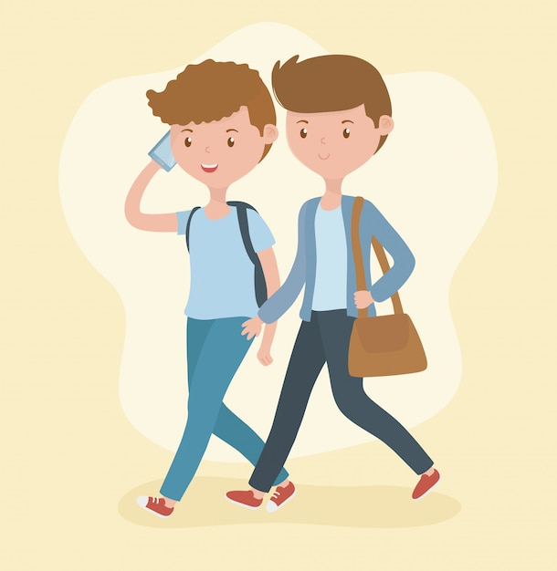 Young boys walking using smartphones Free Vector