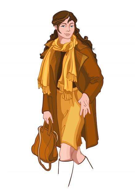 La giovane donna castana si è vestita in vestiti gialli e marroni di autunno Vettore gratuito