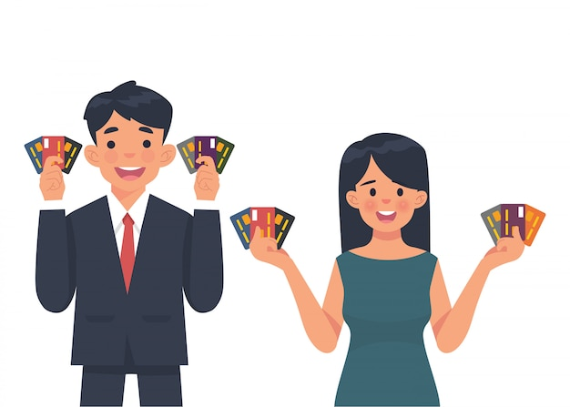 Young business people show credit card Premium Vector