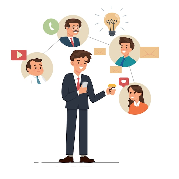 Young business using his phone for video call, chat, and social media Premium Vector