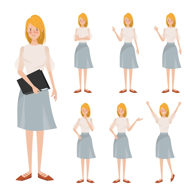 Young business woman character animation different pose. Premium Vector
