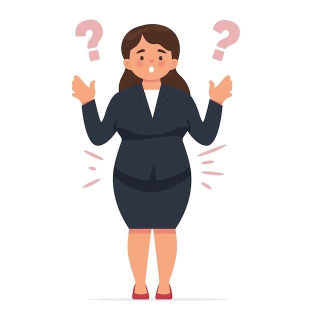 Young business woman was shocked to suddenly feel fat Premium Vector
