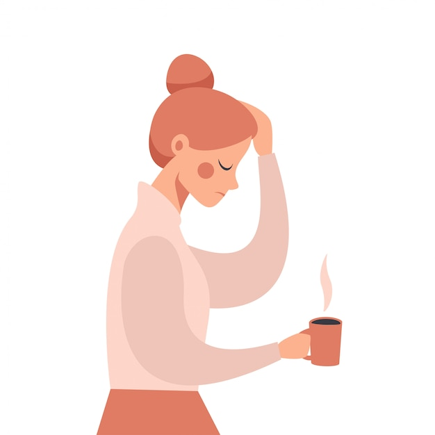 Young business woman with severe headache holding his hand on the head.   illustration Premium Vector