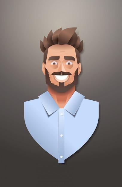 青年実業家顔アバター笑顔ビジネスの男の肖像画トレンディな紙折り紙アート男性漫画のキャラクター垂直 Premiumベクター