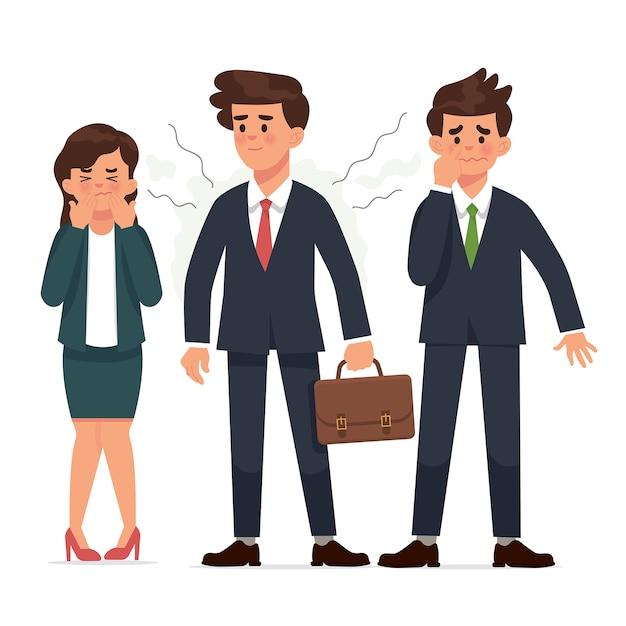 Young businessman has body odor Premium Vector