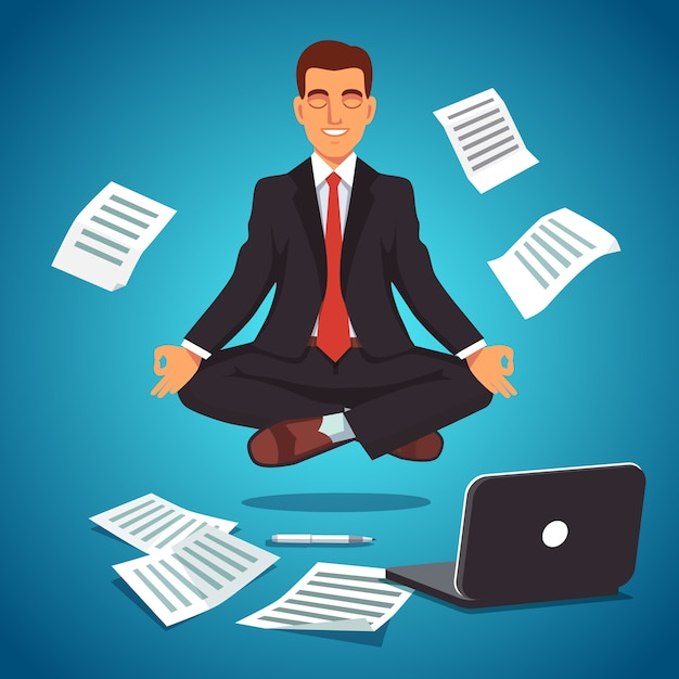 Young businessman levitating in yoga position Free Vector
